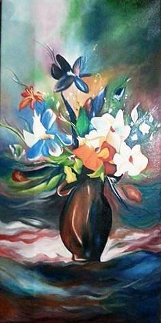 Flower Vase Painting - Flower Vase by Raju Gupta