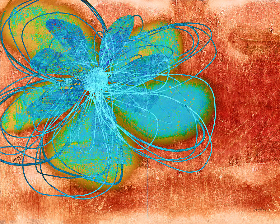 Flower Painting - Flower  Whimsy In Blue by Ann Powell