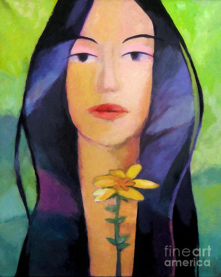 Woman Portrait Painting - Flower Woman by Lutz Baar