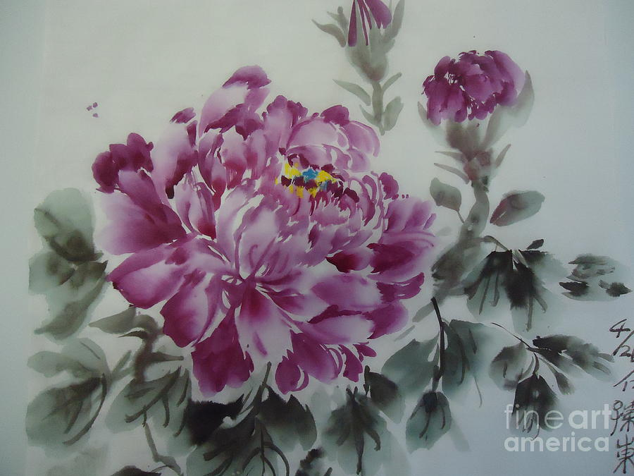 Purple Flower Painting - Flower427012-4 by Dongling Sun