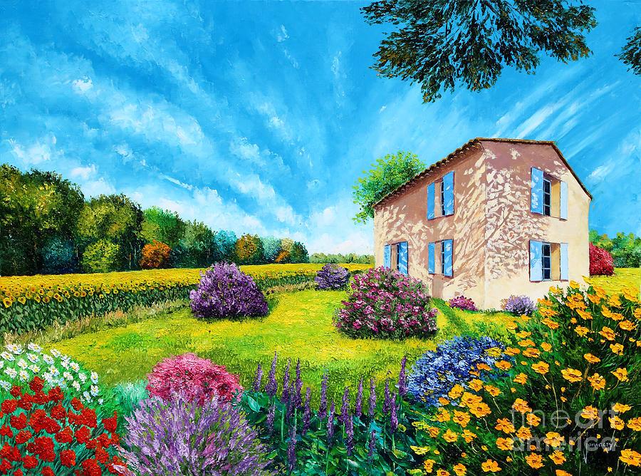 House Digital Art - Flowered Garden by MGL Meiklejohn Graphics Licensing