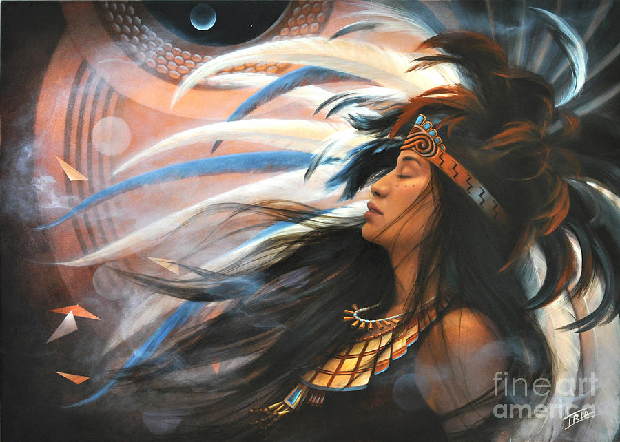 Aztec Culture Painting - Flowering Heart In The House Of Song by Sharon Irla