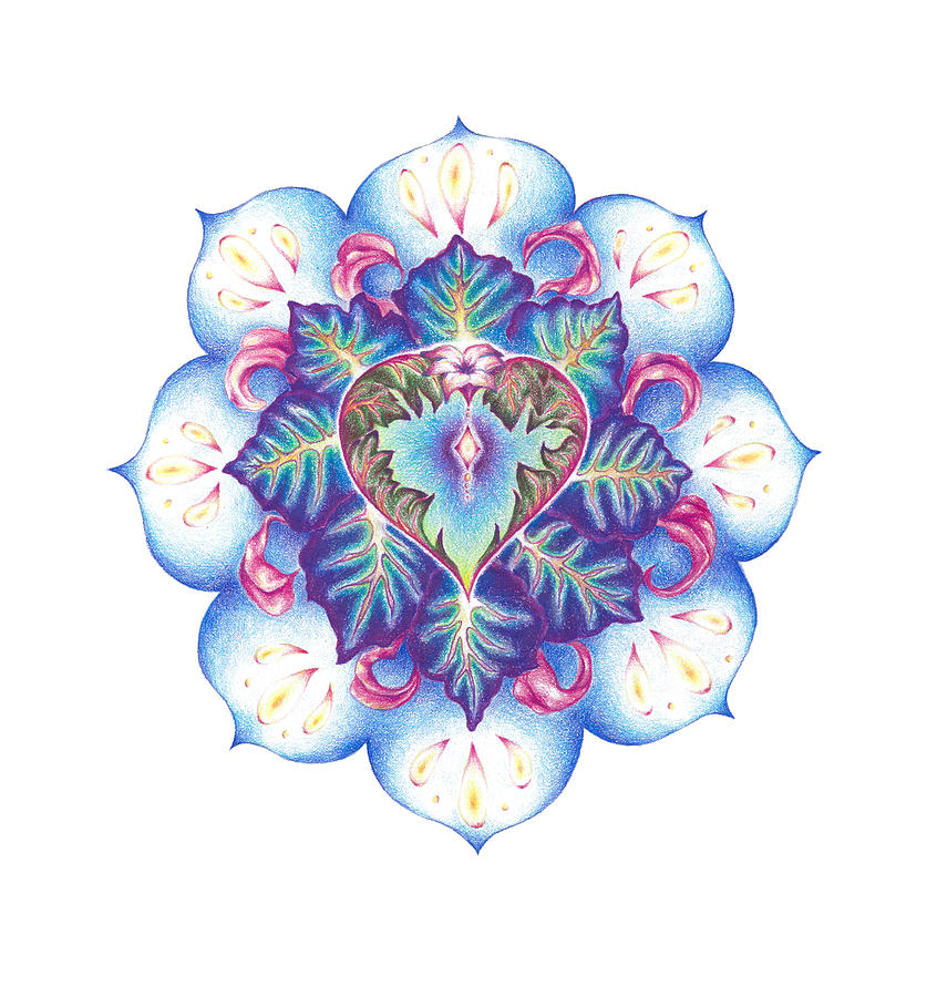 Flower Painting - Flowering Of The Heart   Oneness Art by Lydia Erickson