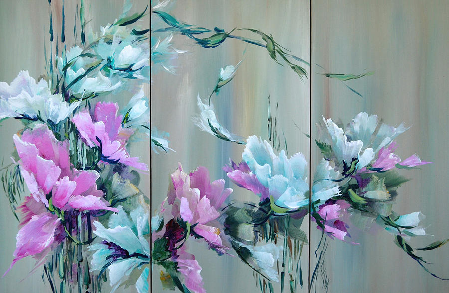 Flowers Painting - Flowers And Bamboo - Tryptych by Steven Nevada