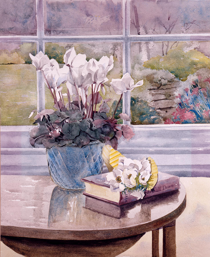 Book Photograph - Flowers And Book On Table by Julia Rowntree