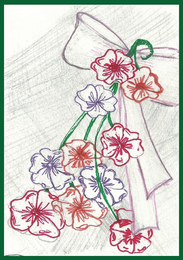 Drawing Drawing - Flowers And Bow by Becky Sterling