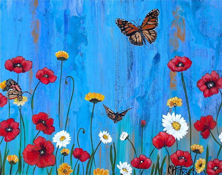 Flowers and Butterflies Painting by Melissa Torres