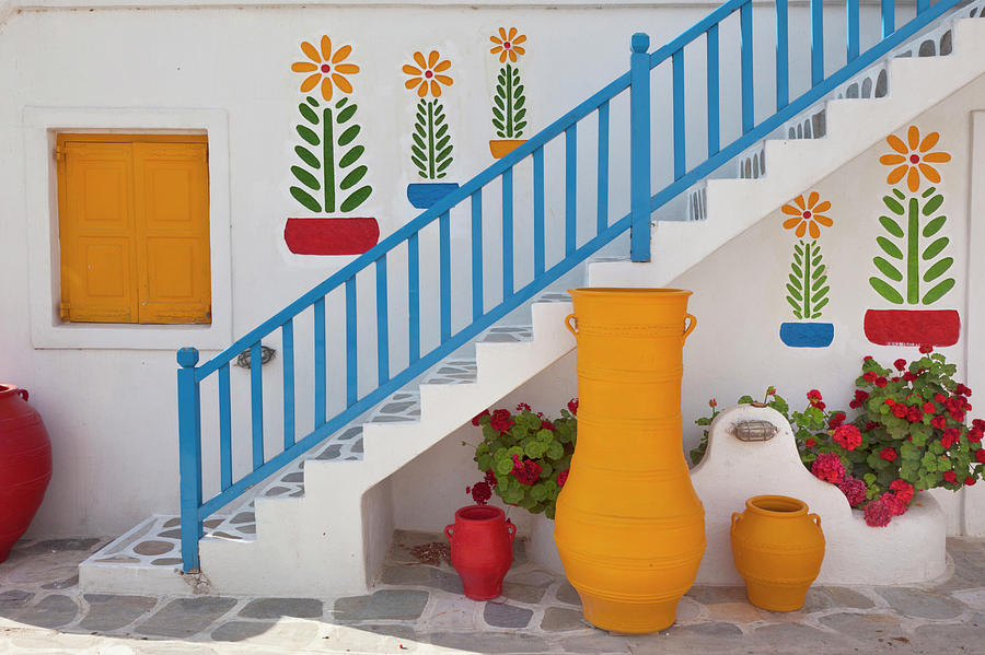Adam Jones Photograph - Flowers And Colorful Pots, Chora by Adam Jones