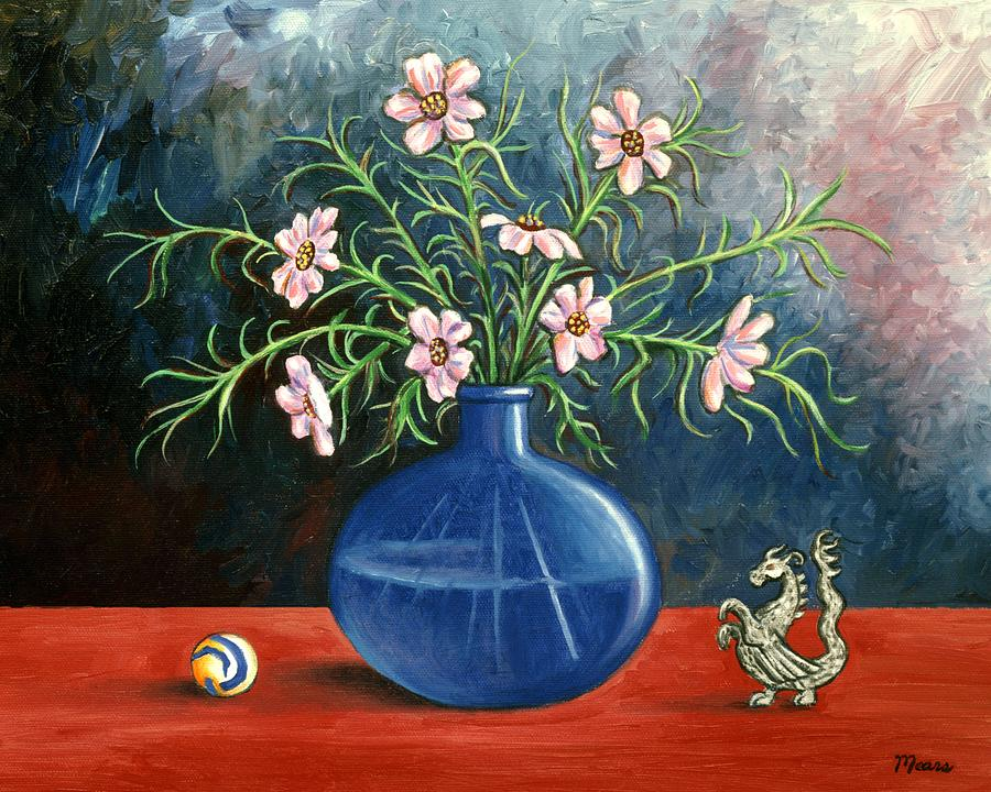 Flowers Painting - Flowers And Dragon by Linda Mears