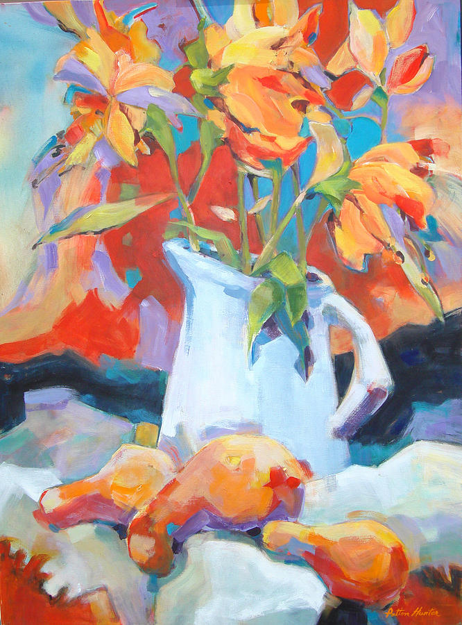 Red Painting - Flowers and Gourds by Patton Hunter