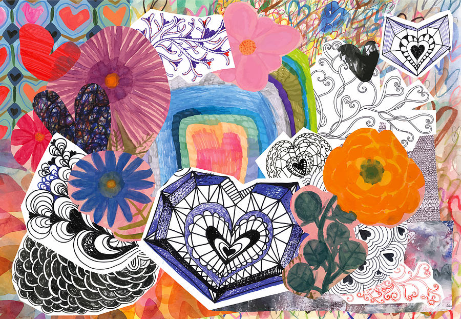 Flowers and hearts collage Drawing by Beastfromeast