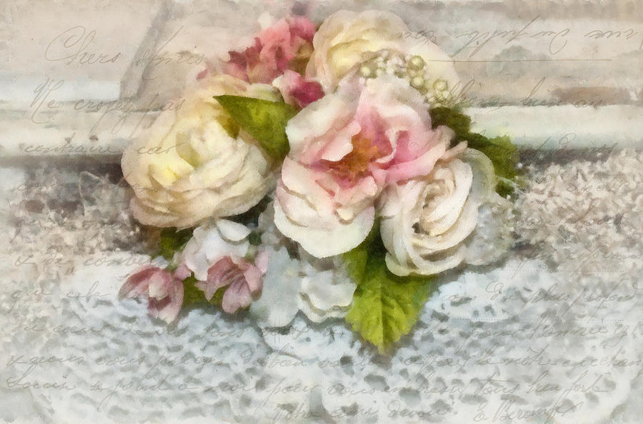Flowers Photograph - Flowers And Lace by Kathy Jennings