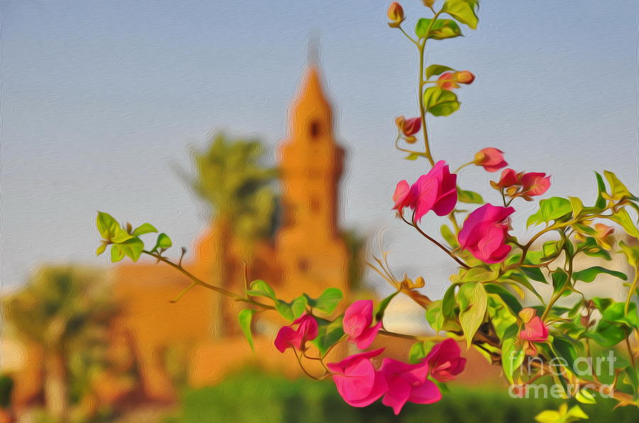 Mosque Photograph - Flowers And Mosque by George Paris