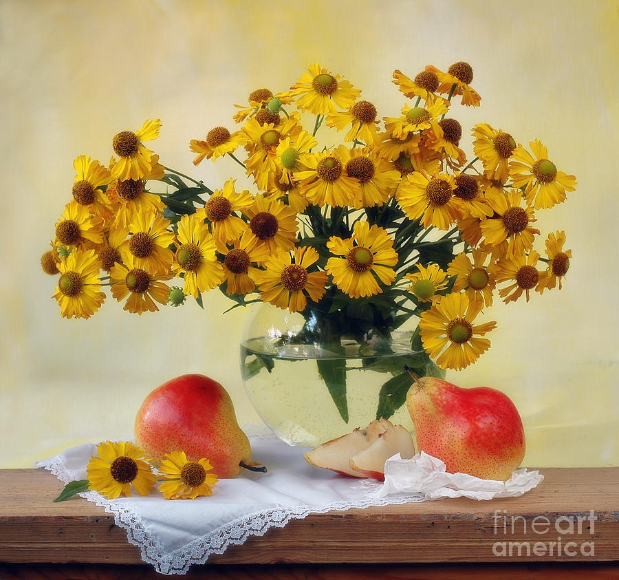 Flowers Photograph - Flowers And Pears by Irina No