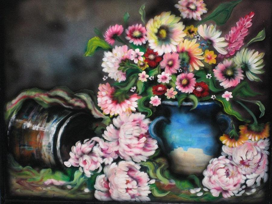 Crock Painting - Flowers And Vase by Kendra Sorum