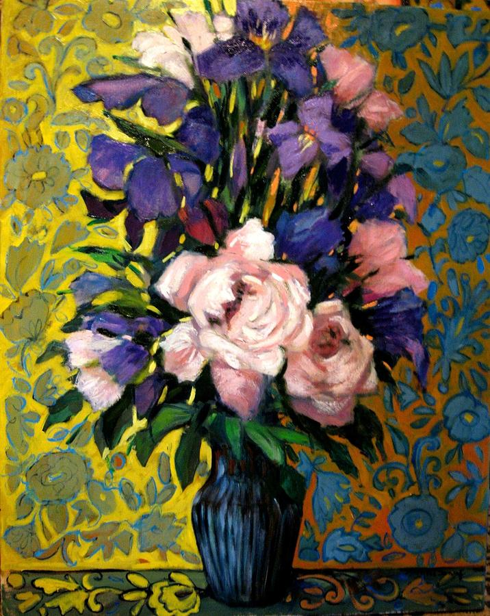 Flowers Painting - Flowers and wallpaper by Marilene Sawaf