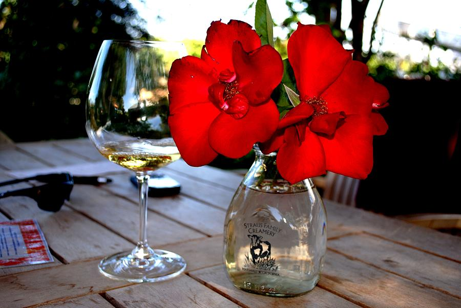 Wine Photograph - Flowers and White Wine in Caneros by Ron Bartels