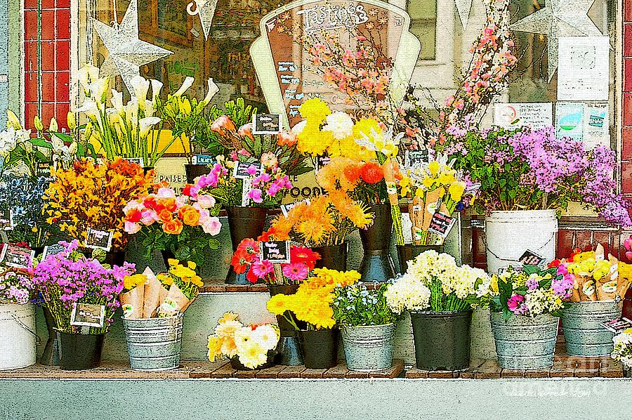 Bi-rite Market In San Francisco Painting - Flowers At The Bi-rite Market In San Francisco  by Artist and Photographer Laura Wrede