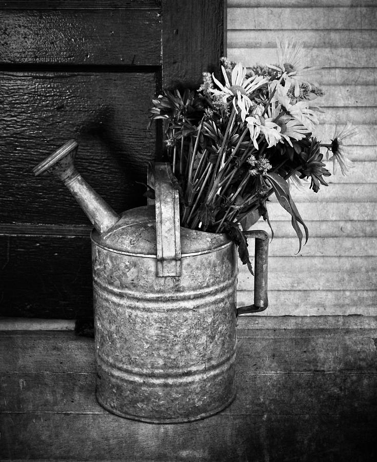 Black And White Photograph - Flowers At The Door  by Jerry Cordeiro