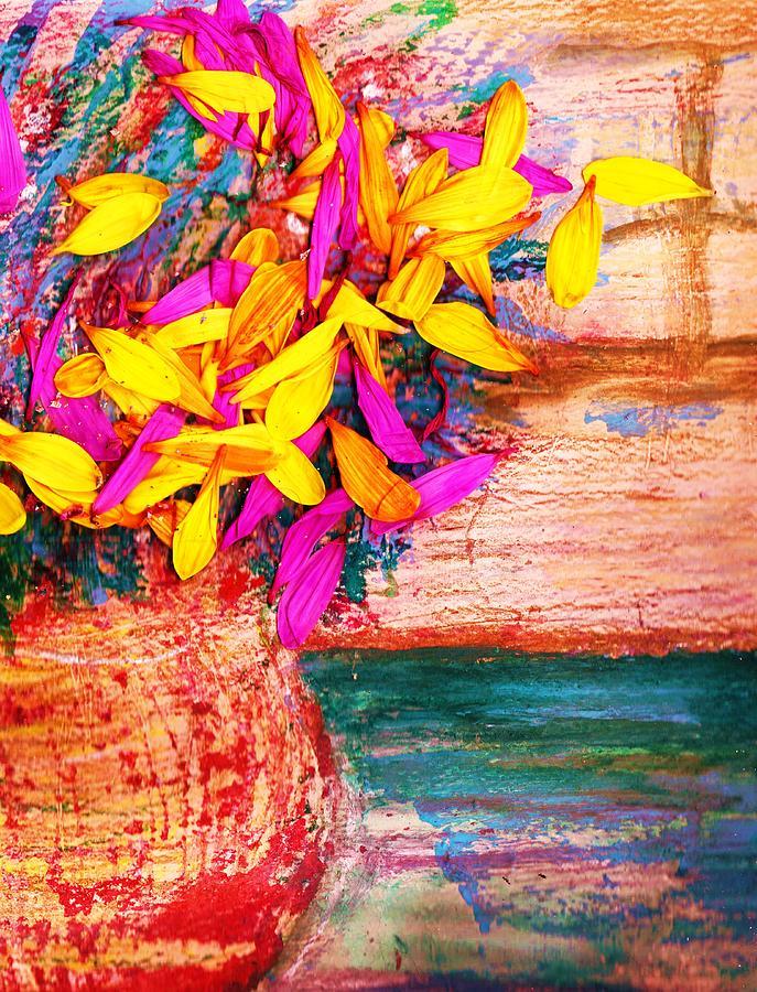Petals Mixed Media - Flowers By Window by Anne-Elizabeth Whiteway