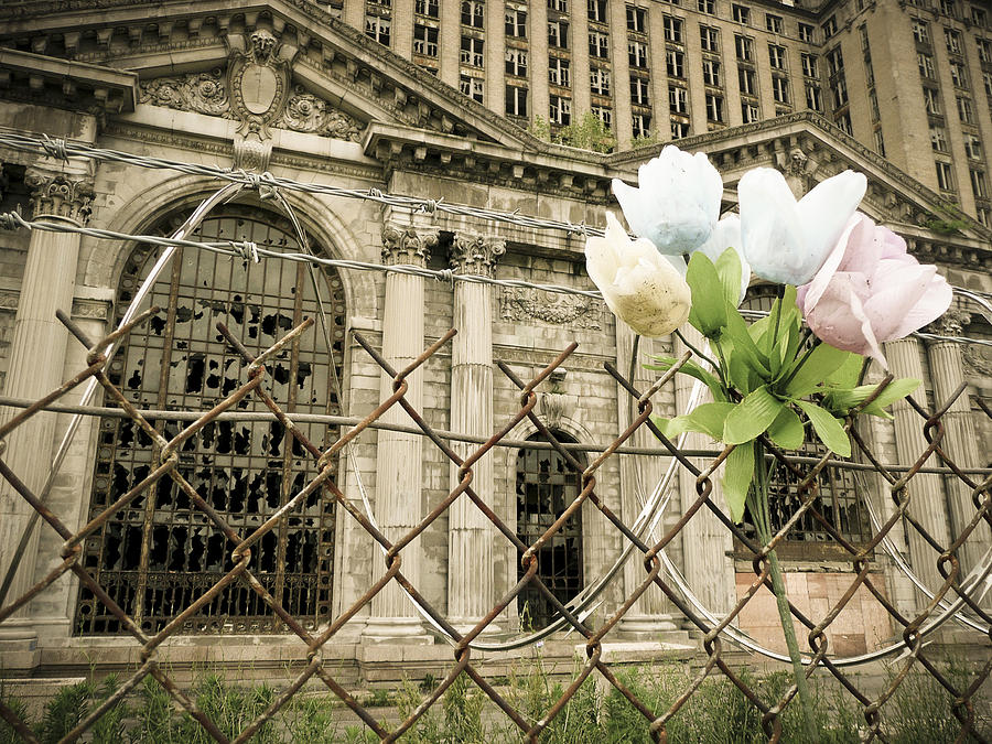 Michigan Central Station Photograph - Flowers For Detroit by Priya Ghose