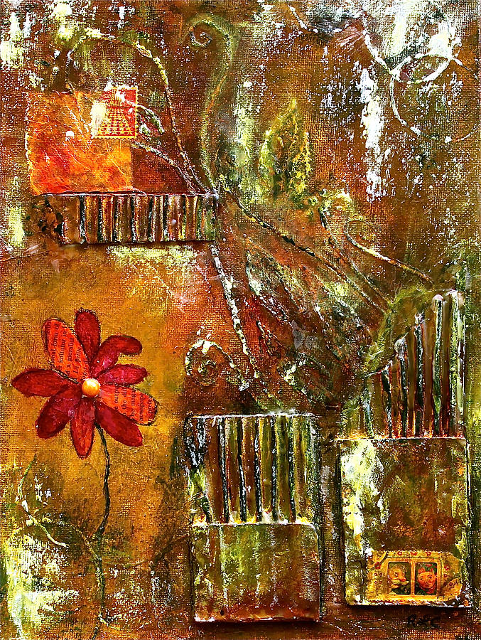 Mixed Media Painting - Flowers Grow Anywhere by Bellesouth Studio