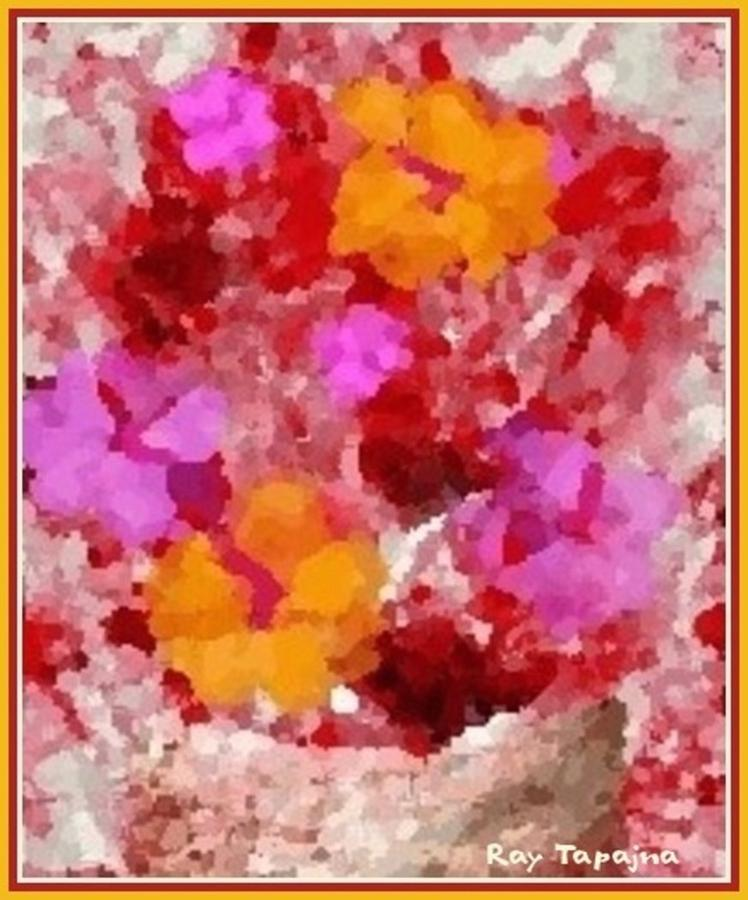 Time Stands Still Digital Art - Flowers Impressions  by Ray Tapajna