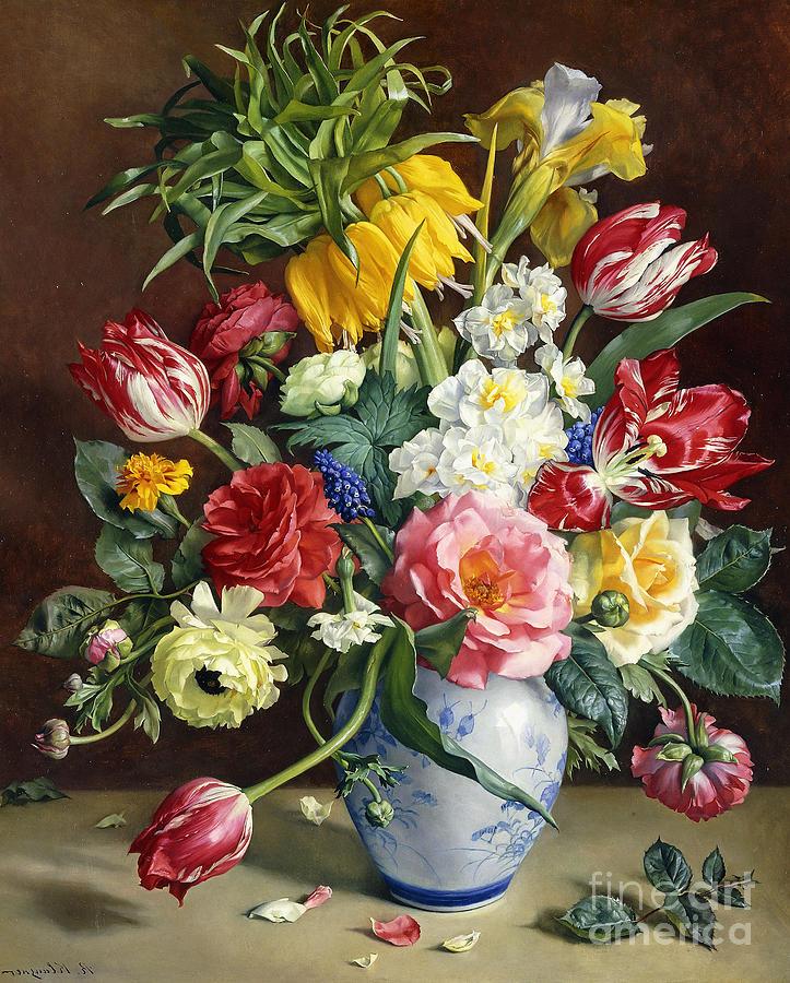 Blue Flowers In Vase Painting