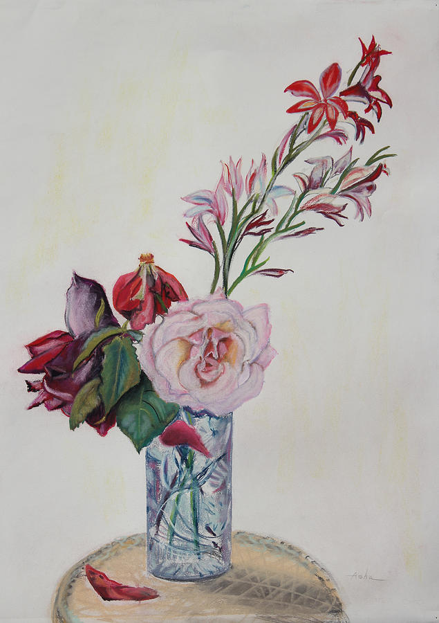 Flowers In A Crystal Vase Painting By Asha Carolyn Young