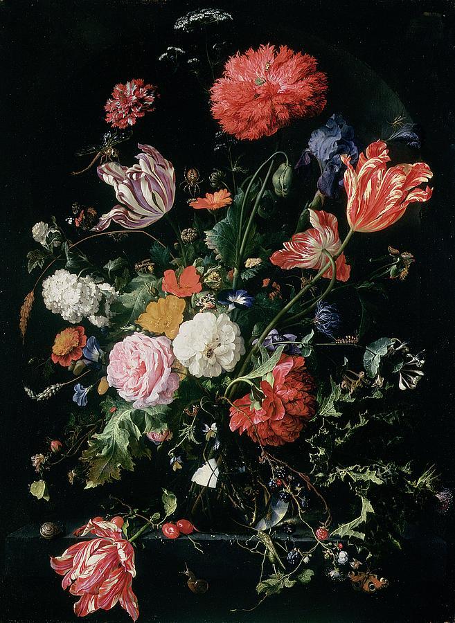 Carnation Painting - Flowers In A Glass Vase, Circa 1660 by Jan Davidsz de Heem