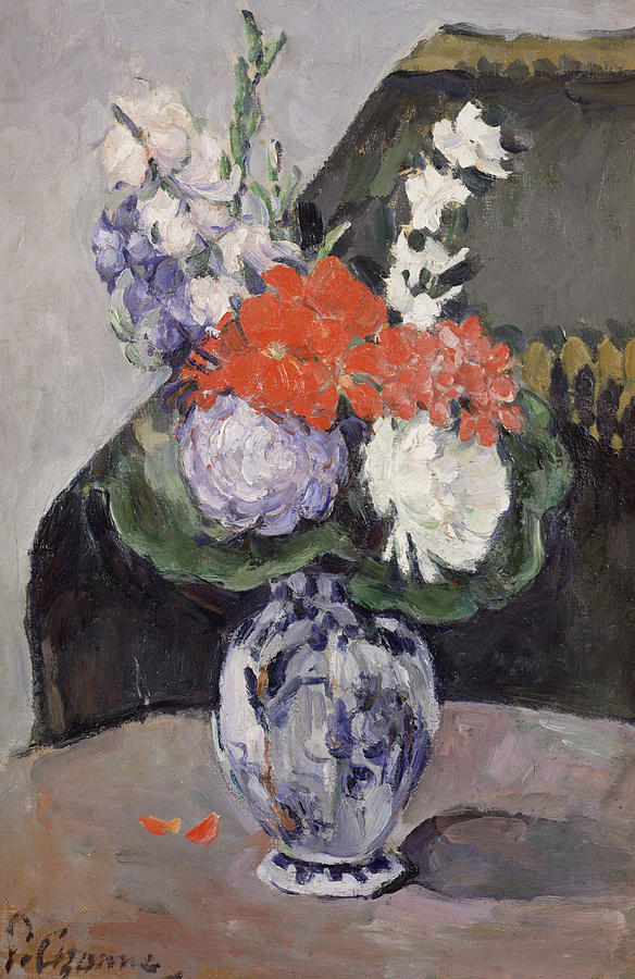 Cezanne Painting - Flowers In A Small Delft Vase by Paul Cezanne