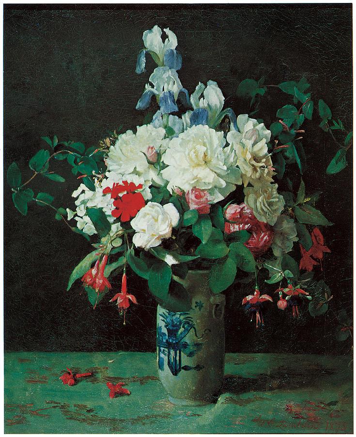 George Cochran Lambdin Painting - Flowers in a Vase by George Cochran Lambdin