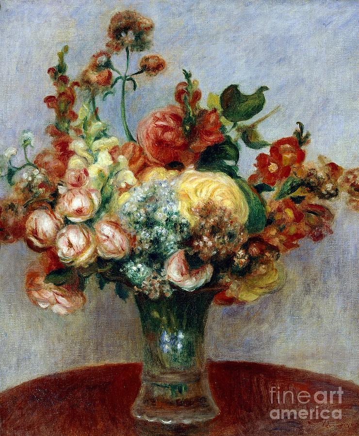 Art; Painting; 19th Century Painting; Europe; France; Renoir Pierre-auguste; Flowerpot; Still-life; Impressionism Painting - Flowers In A Vase by Pierre-Auguste Renoir
