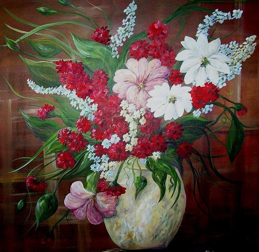 Randall Vernon Davey Oil Painting Still Life Flowers in