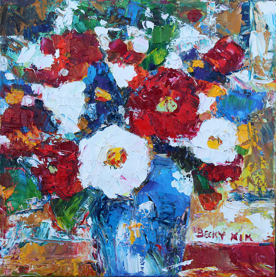 Oil Painting - Flowers In Blue Vase 2 by Becky Kim