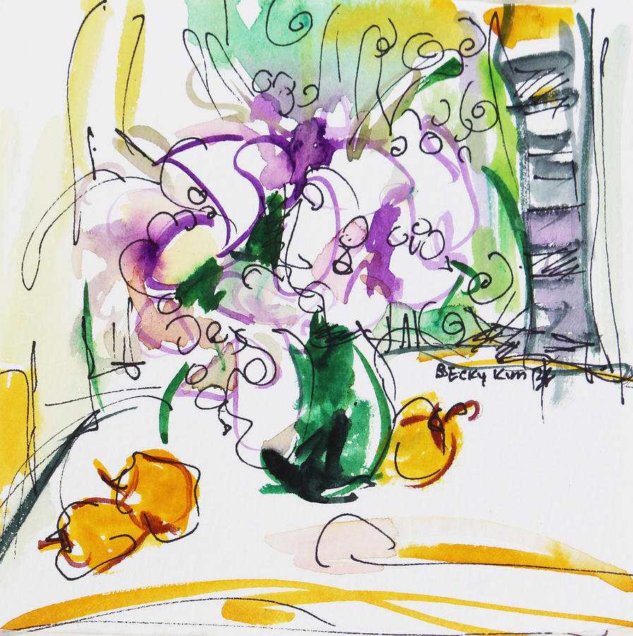 Flowers Painting - Flowers In Green Vase by Becky Kim