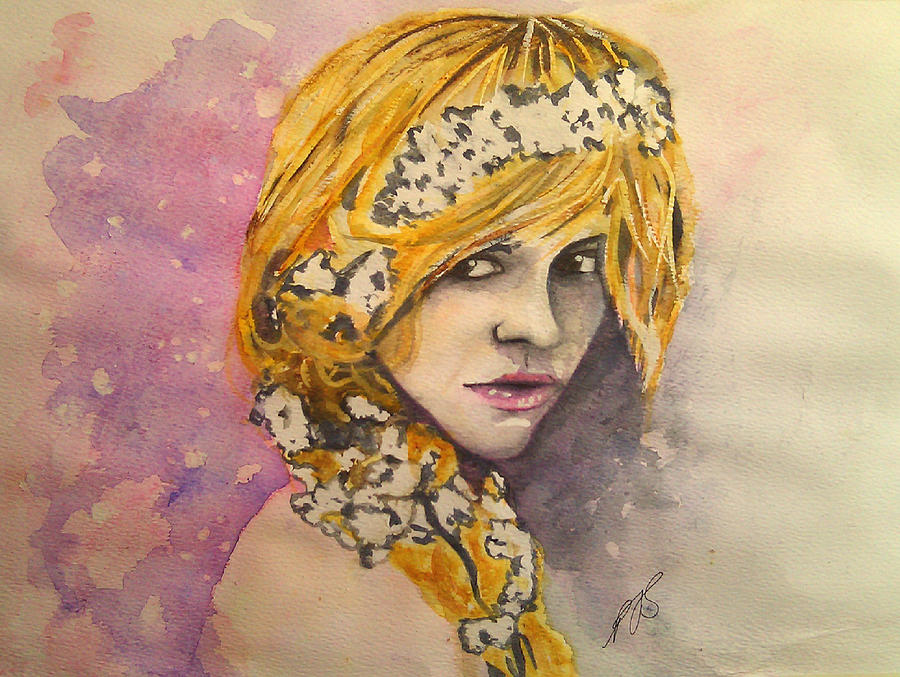 Girl Painting - Flowers In Her Hair Series I by Paula Steffensen