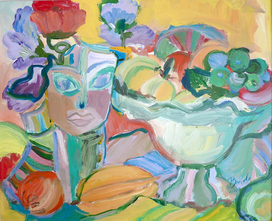 Abstract Painting - Flowers In Her Hat by Brenda Ruark