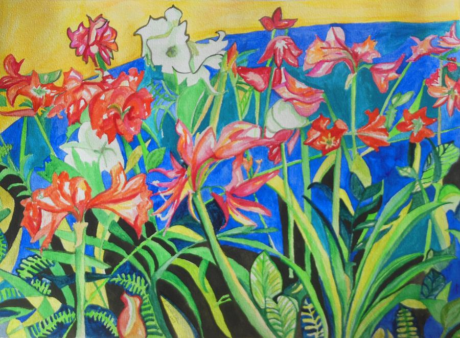Flowers In Polyphony Painting - Flowers In Polyphony by Esther Newman-Cohen