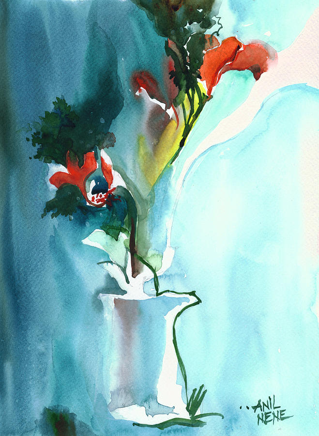 Nature Painting - Flowers in Vase by Anil Nene