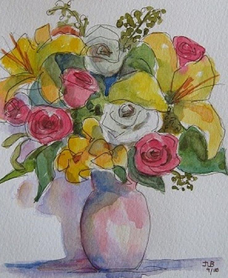 Flowers Painting - Vase With Flowers  by Janet Butler