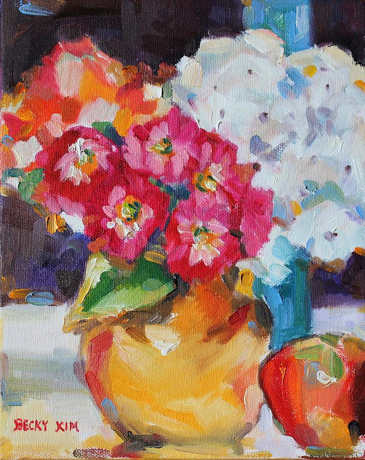 Oil Painting - Flowers In Yellow Vase With An Apple by Becky Kim