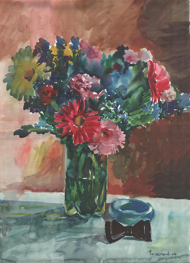 Flowers Painting - Flowers Of Italy With A Bow Tie And A Blue Bracelet by Anna Lobovikov-Katz