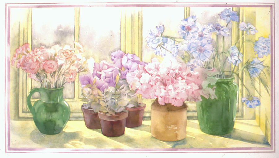 Illustration Photograph - Flowers On The Windowsill by Julia Rowntree