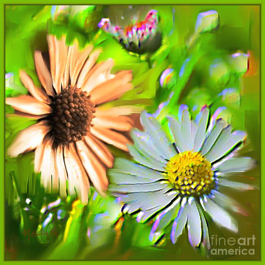 Art Prints Painting - Flowers Orange And Blue by Nedunseralathan R