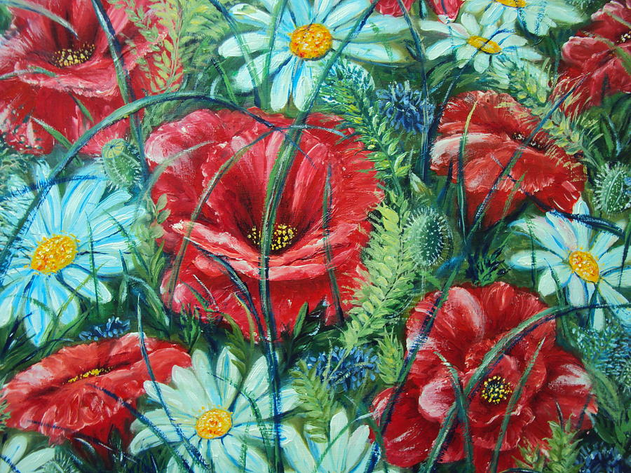 Red Flowers Painting - Flowers Poppies and Daisies by Drinka Mercep