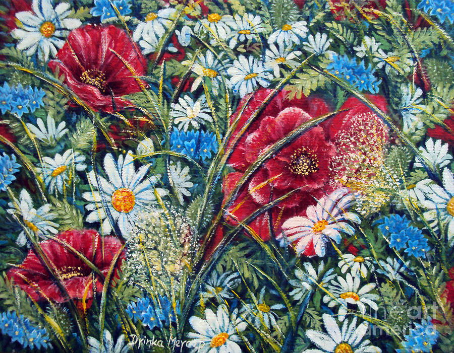 Nature Paintings Painting - Flowers Poppies And Daisies No.5 by Drinka Mercep