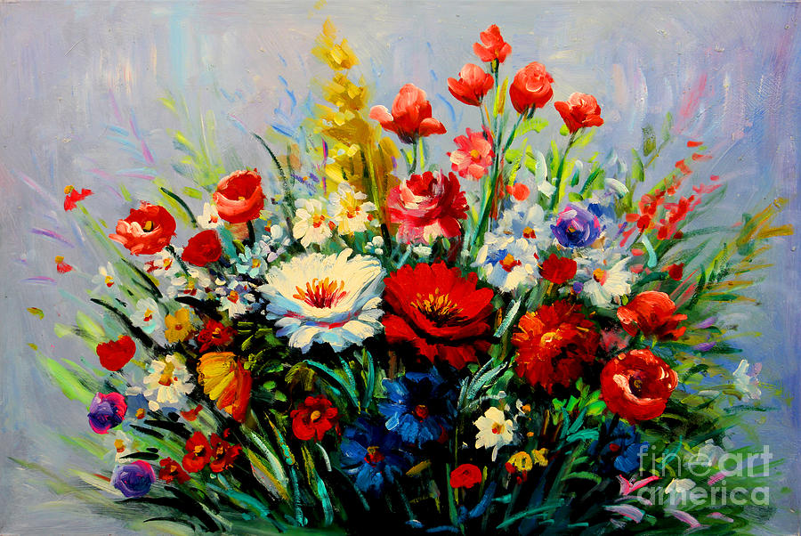 flowers poppies bouquet painting by emma lambert