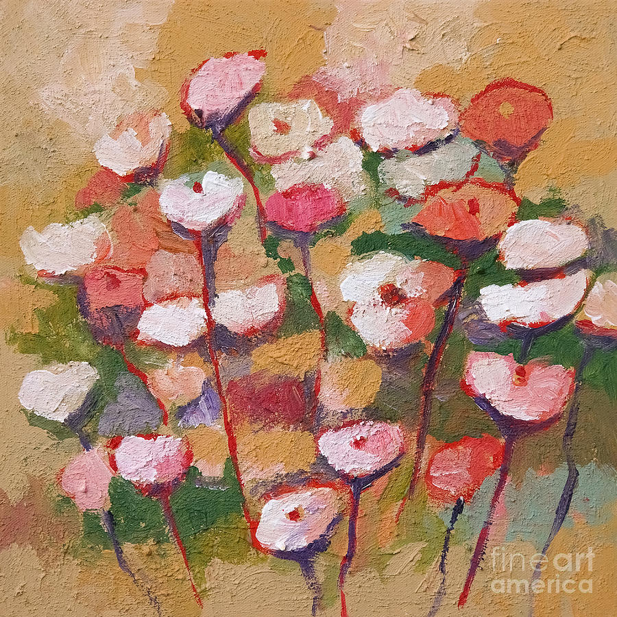 Arty Flowers Painting - Flowers With Beige by Lutz Baar