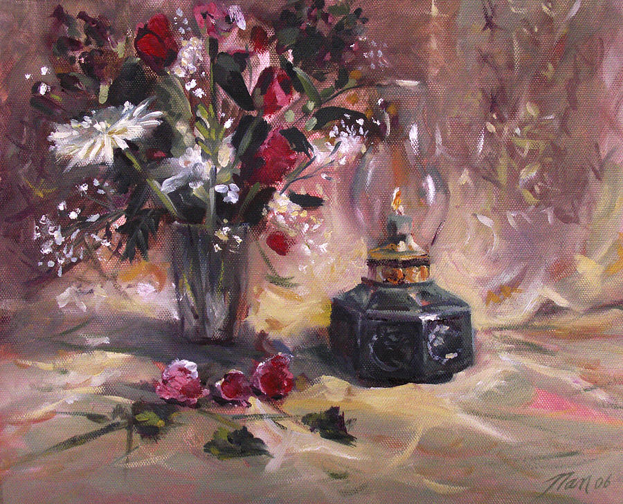 Flowers Painting - Flowers With Lantern by Nancy Griswold